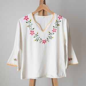 Vintage Mexican Embroidered V-Neck Cotton Blouse